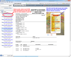 BLM website claim details page.