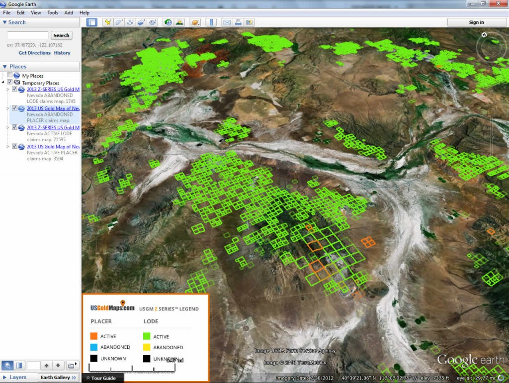 Nevada Gold Maps USGM ZSeries Placer Lode Gold Claims Bundle - Us gold maps